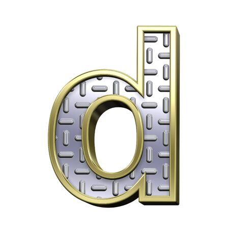 treadplate: One lower case letter from steel tread plate with gold frame alphabet set, isolated on white. Computer generated 3D photo rendering. Stock Photo