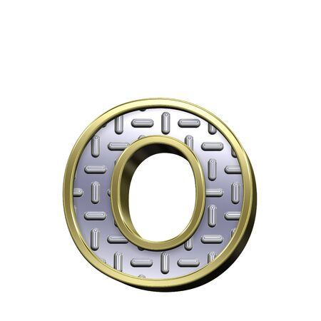 One lower case letter from steel tread plate with gold frame alphabet set, isolated on white. Computer generated 3D photo rendering. Stock Photo