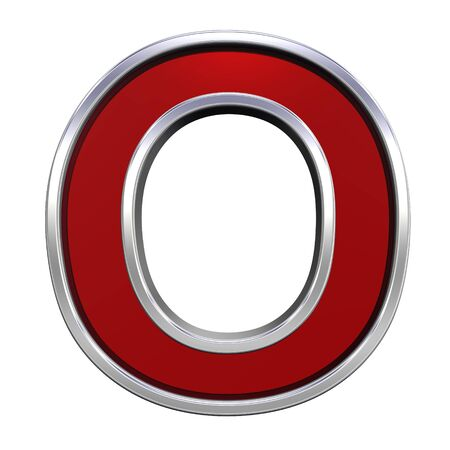 One letter from ruby with chrome frame alphabet set, isolated on white. Computer generated 3D photo rendering.