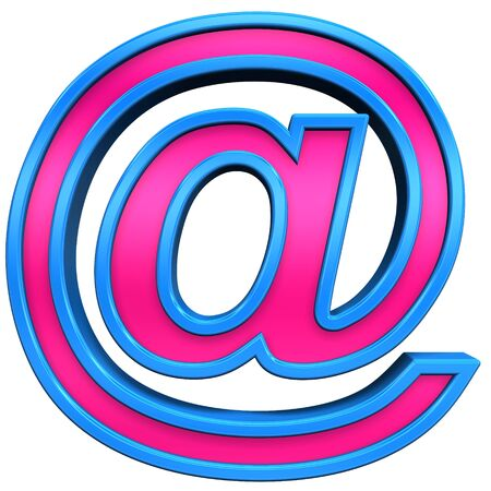 Mail sign from pink with blue frame alphabet set, isolated on white. Computer generated 3D photo rendering. Stock Photo - 5424187