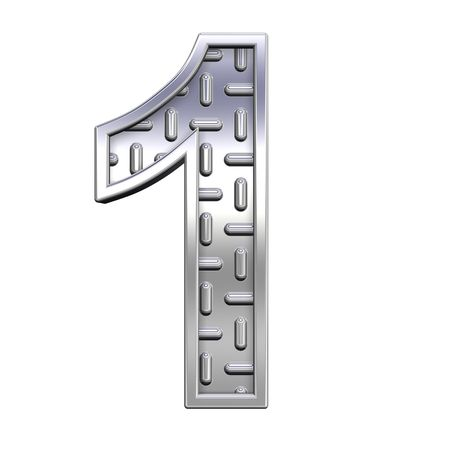 tread plate: One digit from steel tread plate alphabet set, isolated on white. Computer generated 3D photo rendering.