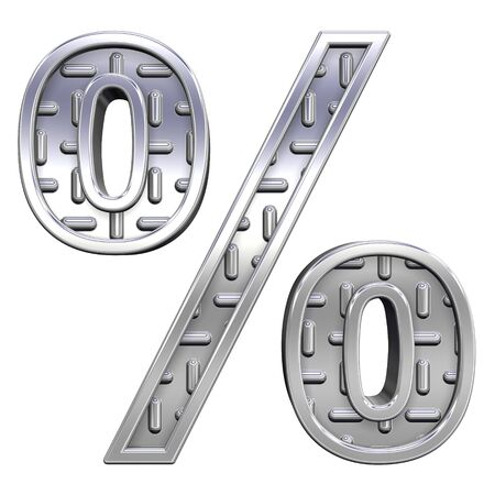 Percent sign from steel tread plate alphabet set, isolated on white. Computer generated 3D photo rendering.