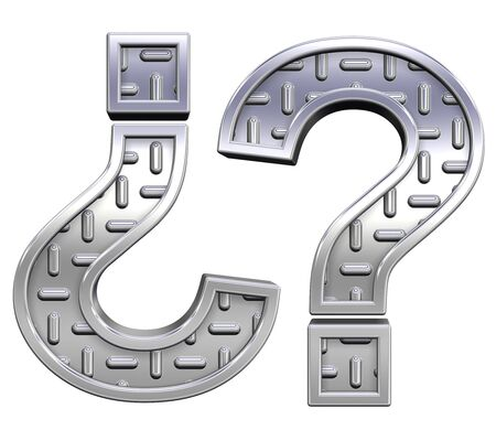 treadplate: Question mark from steel tread plate alphabet set, isolated on white. Computer generated 3D photo rendering. Stock Photo