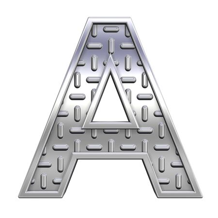 treadplate: One letter from steel tread plate alphabet set, isolated on white. Computer generated 3D photo rendering.