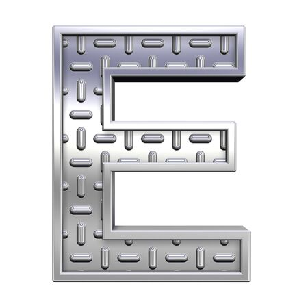 tread plate: One letter from steel tread plate alphabet set, isolated on white. Computer generated 3D photo rendering.