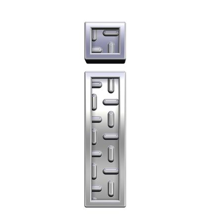 One lower case letter from steel tread plate alphabet set, isolated on white. Computer generated 3D photo rendering. Stock Photo