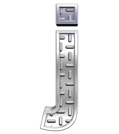 tread plate: One lower case letter from steel tread plate alphabet set, isolated on white. Computer generated 3D photo rendering. Stock Photo