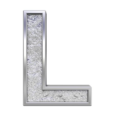 solid silver: One letter from chrome cast alphabet set, isolated on white. Computer generated 3D photo rendering.