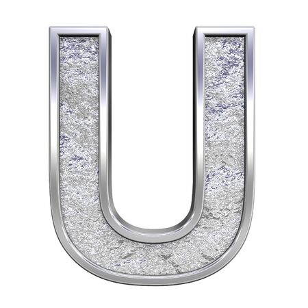 One letter from chrome cast alphabet set, isolated on white. Computer generated 3D photo rendering.  photo