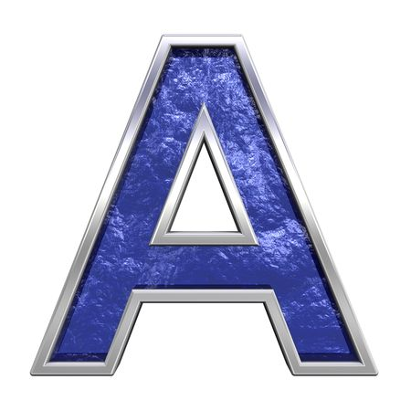 One letter from blue glass cast with chrome frame alphabet set, isolated on white. Computer generated 3D photo rendering.