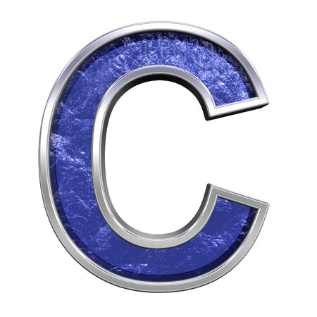 cast: One letter from blue glass cast with chrome frame alphabet set, isolated on white. Computer generated 3D photo rendering.