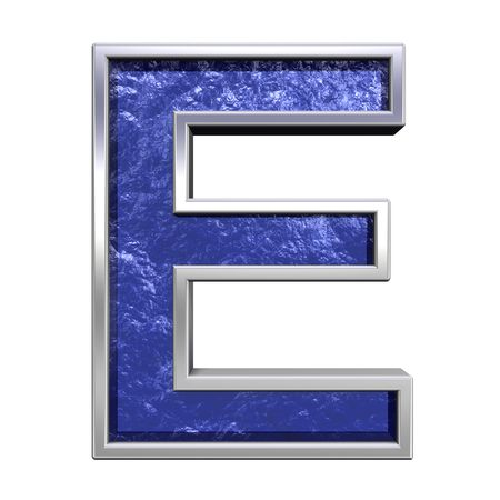 casts: One letter from blue glass cast with chrome frame alphabet set, isolated on white. Computer generated 3D photo rendering.