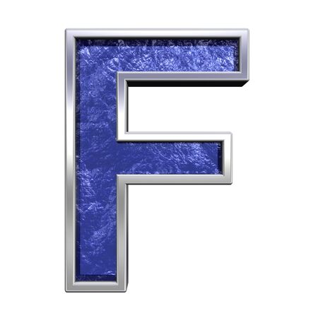 One letter from blue glass cast with chrome frame alphabet set, isolated on white. Computer generated 3D photo rendering.  photo