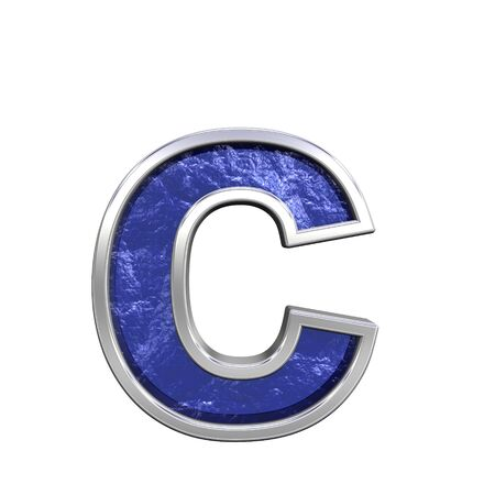 One lower case letter from blue glass cast with chrome frame alphabet set, isolated on white. Computer generated 3D photo rendering.  photo