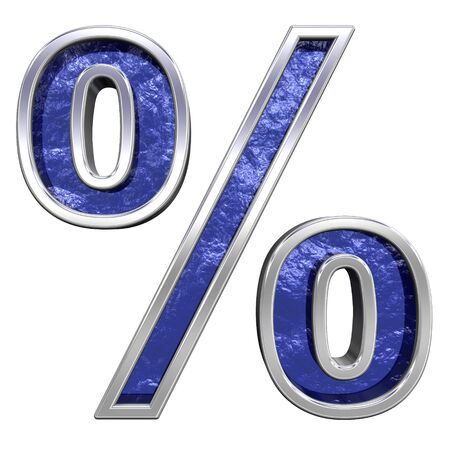 Percent sign from blue glass cast with chrome frame alphabet set, isolated on white. Computer generated 3D photo rendering.  photo