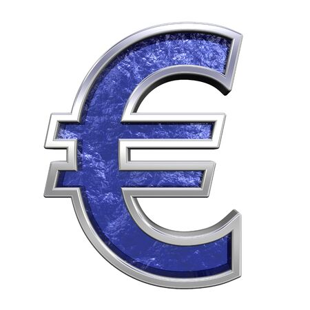 Euro sign from blue glass cast with chrome frame alphabet set, isolated on white. Computer generated 3D photo rendering.  photo
