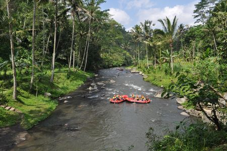 White Water Rafting on the rapids of river in Bali Island, Indonesia
