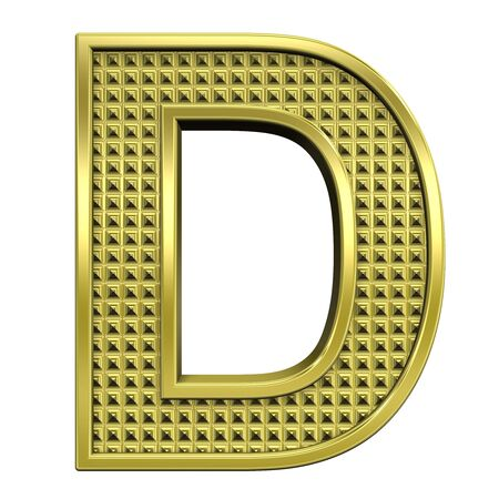 One letter from knurled gold alphabet set, isolated on white. Computer generated 3D photo rendering. Stock Photo - 5584042