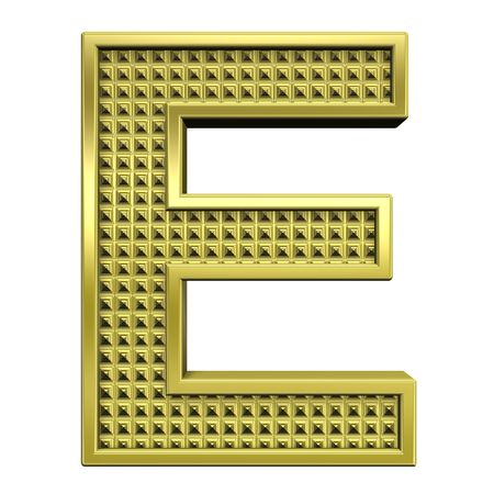 One letter from knurled gold alphabet set, isolated on white. Computer generated 3D photo rendering. Stock Photo - 5584038