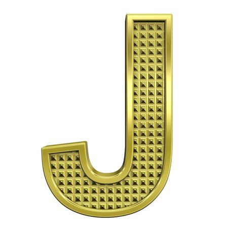 One letter from knurled gold alphabet set, isolated on white. Computer generated 3D photo rendering. photo