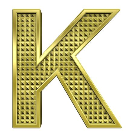 knurled: One letter from knurled gold alphabet set, isolated on white. Computer generated 3D photo rendering.