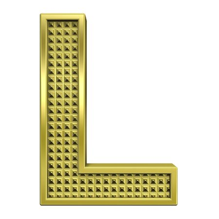 One letter from knurled gold alphabet set, isolated on white. Computer generated 3D photo rendering. Stock Photo - 5583947