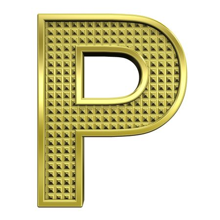One letter from knurled gold alphabet set, isolated on white. Computer generated 3D photo rendering. Stock Photo - 5584001
