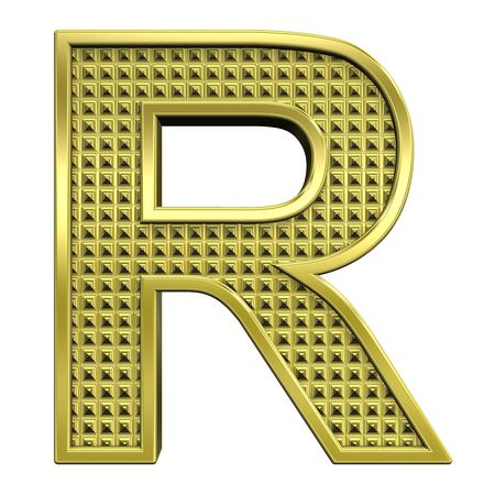 One letter from knurled gold alphabet set, isolated on white. Computer generated 3D photo rendering. Stock Photo - 5584055