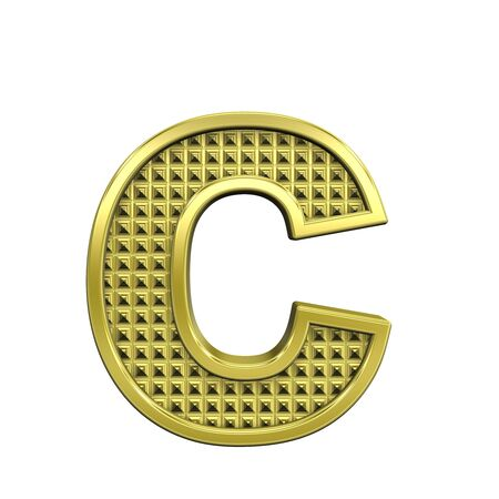 knurled: One lower case letter from knurled gold alphabet set, isolated on white. Computer generated 3D photo rendering.