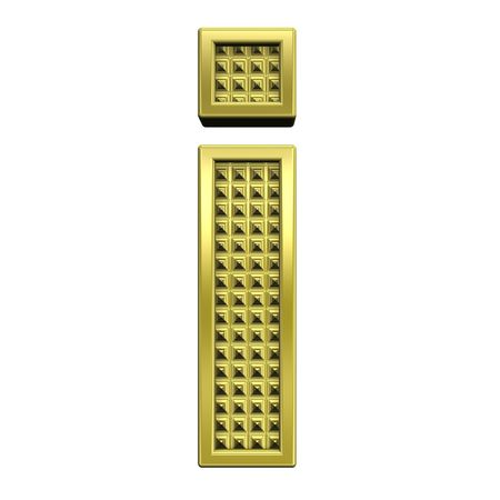 One lower case letter from knurled gold alphabet set, isolated on white. Computer generated 3D photo rendering. Stock Photo - 5583938