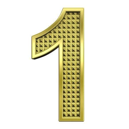One digit from knurled gold alphabet set, isolated on white. Computer generated 3D photo rendering. Stock Photo - 5583941