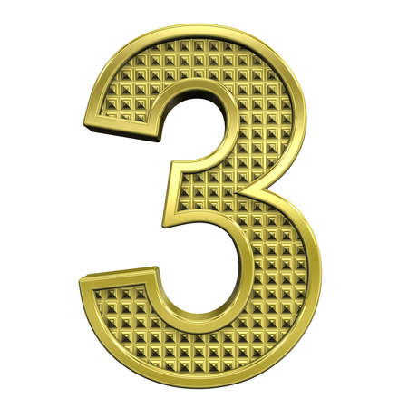 knurled: One digit from knurled gold alphabet set, isolated on white. Computer generated 3D photo rendering.