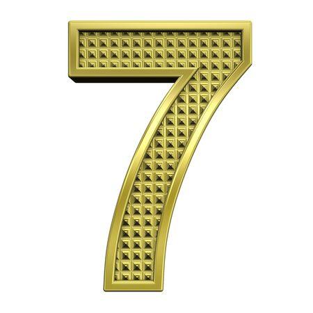 solid figure: Una cifra da set di alfabeto oro zigrinata, isolato su bianco. Computer generated foto 3D rendering. Archivio Fotografico
