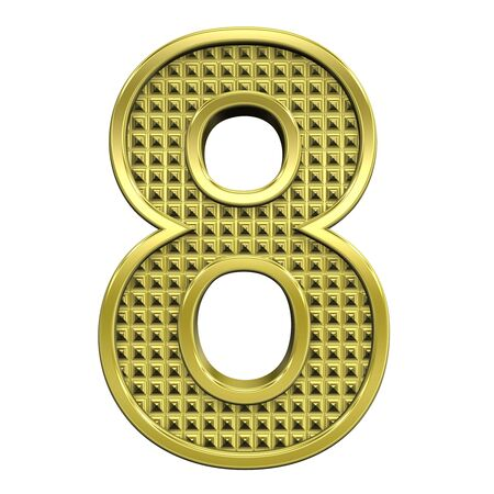 One digit from knurled gold alphabet set, isolated on white. Computer generated 3D photo rendering. Stock Photo - 5584027