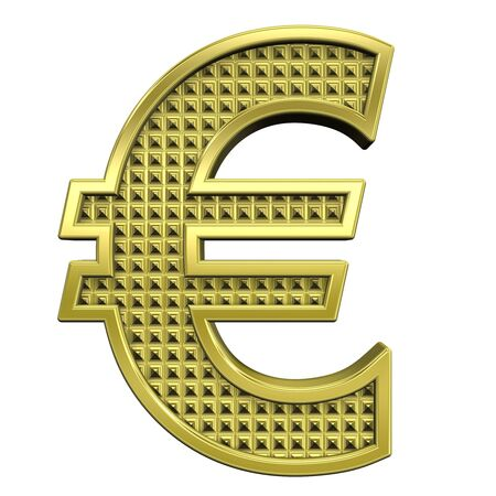 knurled: Euro sign from knurled gold alphabet set, isolated on white. Computer generated 3D photo rendering.