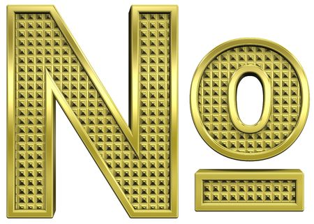 knurled: Number mark from knurled gold alphabet set, isolated on white. Computer generated 3D photo rendering. Stock Photo