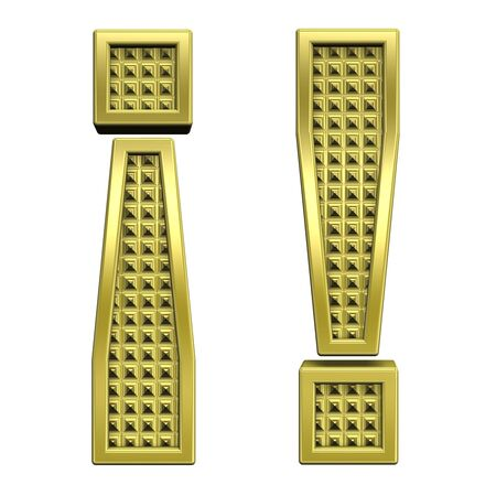 knurled: Exclamation mark from knurled gold alphabet set, isolated on white. Computer generated 3D photo rendering. Stock Photo