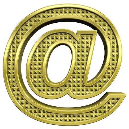 knurled: Mail sign from knurled gold alphabet set, isolated on white. Computer generated 3D photo rendering.