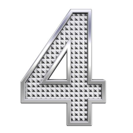 knurled: One digit from knurled chrome alphabet set, isolated on white. Computer generated 3D photo rendering.