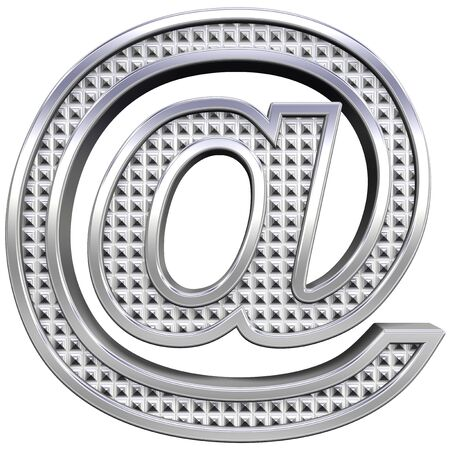 Mail sign from knurled chrome alphabet set, isolated on white. Computer generated 3D photo rendering.  photo
