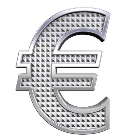 knurled: Euro sign from knurled chrome alphabet set, isolated on white. Computer generated 3D photo rendering.