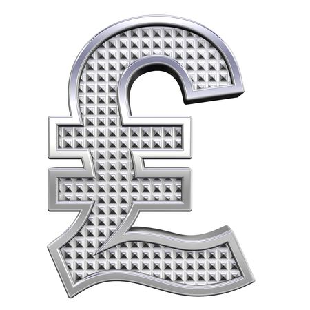 knurled: Pound sign from knurled chrome alphabet set, isolated on white. Computer generated 3D photo rendering.