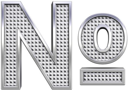 knurled: Number mark from knurled chrome alphabet set, isolated on white. Computer generated 3D photo rendering.