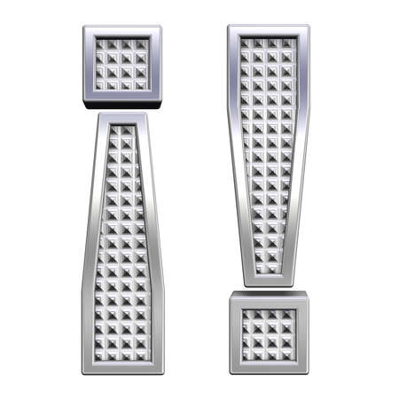 knurled: Exclamation mark from knurled chrome alphabet set, isolated on white. Computer generated 3D photo rendering.  Stock Photo