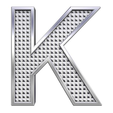 knurled: One letter from knurled chrome alphabet set, isolated on white. Computer generated 3D photo rendering.