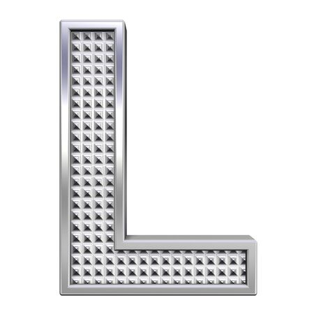 One letter from knurled chrome alphabet set, isolated on white. Computer generated 3D photo rendering.  photo