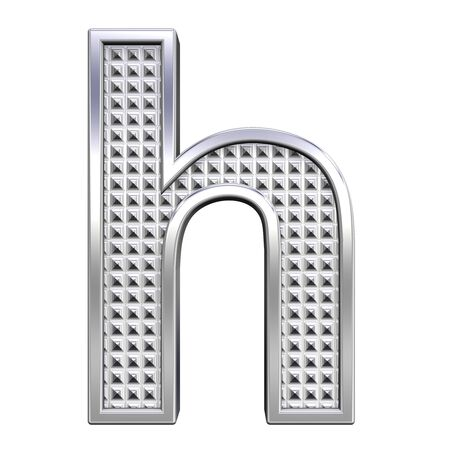 knurled: One lower case letter from knurled chrome alphabet set, isolated on white. Computer generated 3D photo rendering.  Stock Photo