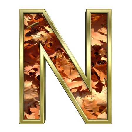 One letter from autumn gold alphabet set, isolated on white. Computer generated 3D photo rendering.