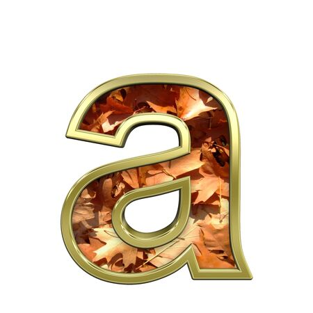 typescript: One lower case letter from autumn gold alphabet set, isolated on white. Computer generated 3D photo rendering. Stock Photo
