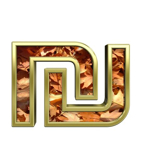sheqel: Sheqel sign from autumn gold alphabet set, isolated on white. Computer generated 3D photo rendering.  Stock Photo